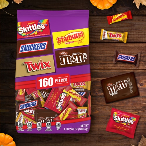 Mars Mixed Twix Skittles Starbust M&Ms Snickers Halloween Candy Variety Bag Perspective: back