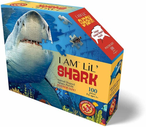 I AM Lil Shark 100 Piece Animal-Shaped Jigsaw Puzzle Perspective: back