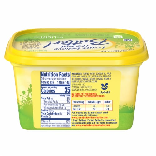I Can't Believe It's Not Butter! The Light One Vegetable Oil Spread Perspective: back