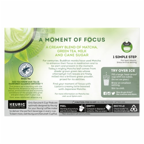 Lipton Matcha Latte Green Tea K-Cup Pods Perspective: back