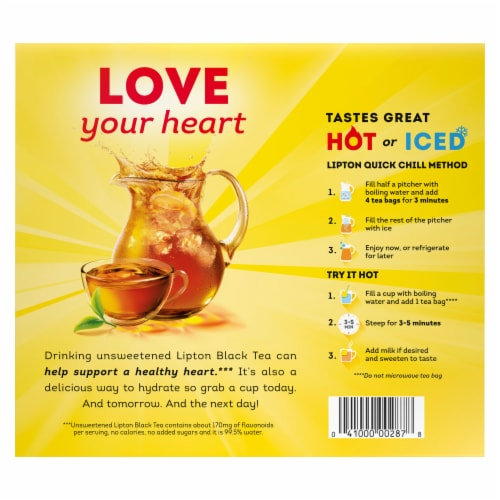 Lipton Black Tea Bags 100 Count Perspective: back