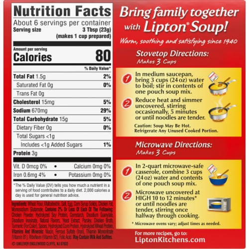 Lipton Soup Secrets Instant Extra Noodle Soup Mix with Real Chicken Broth Perspective: back