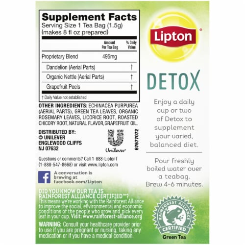 Lipton Detox Dandelion Nettle Grapefruit Green Tea Bags Perspective: back