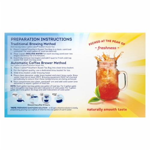 Lipton Southern Sweet Iced Tea Bags Perspective: back