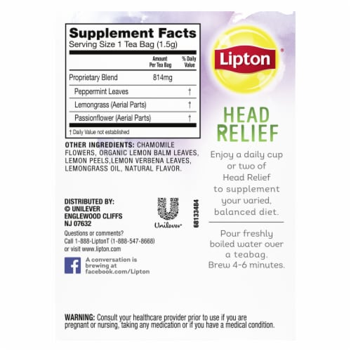 Lipton Head Relief Peppermint Lemongrass Passion Flower Caffeine Free Herbal Tea Bags 15 Count Perspective: back
