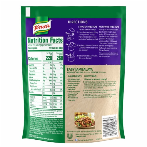 Knorr Cajun Sides Red Beans & Rice Perspective: back