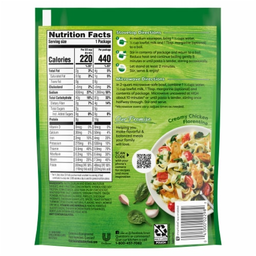 Knorr Pasta Sides Creamy Chicken Fettuccine Perspective: back