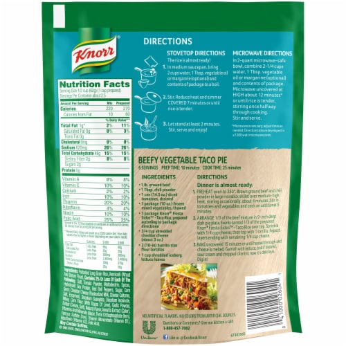 Knorr Fiesta Sides Taco Rice and Pasta Blend Perspective: back