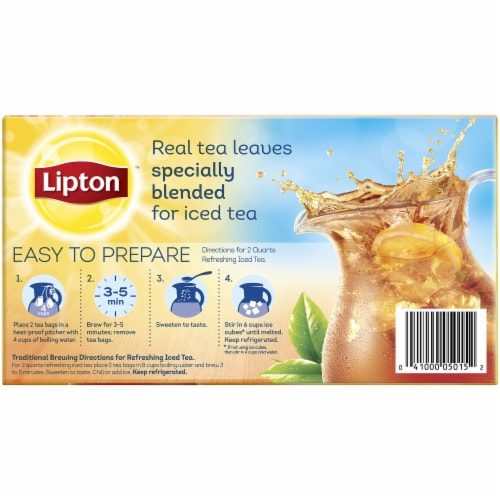 Lipton Unsweetened Black Iced Tea Bags Perspective: back