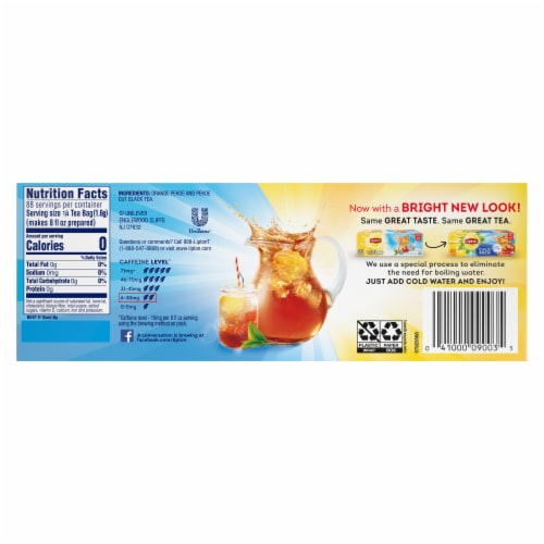 Lipton Cold Brew Black Iced Tea Bags Family Size Perspective: back