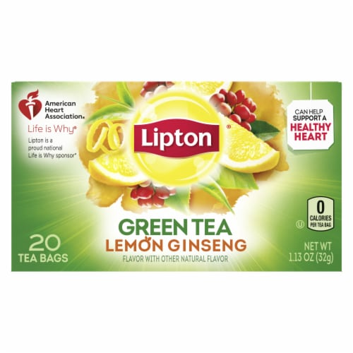 Lipton Lemon Ginseng Green Tea Bags Perspective: back