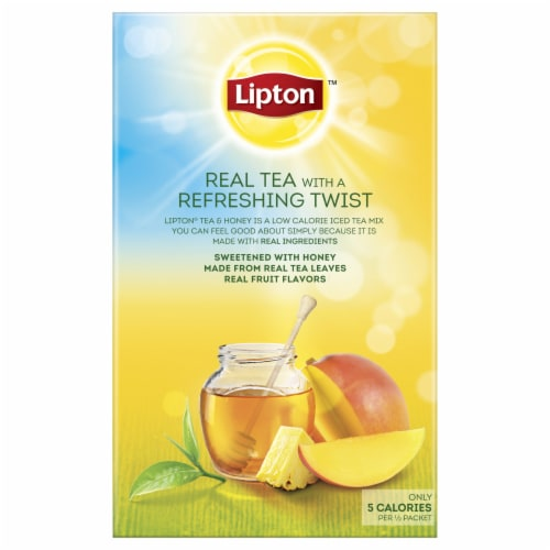 Lipton Mango Pineapple Iced Green Tea Mix Packets 10 Count Perspective: back