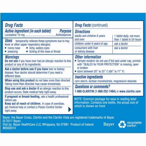 Claritin® 24-Hour Antihistamine Tablets Perspective: back