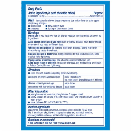 Claritin Non-Drowsy 24 Hour Allergy Relief Loratadine Cool Mint Chewable Tablets 10mg Perspective: back