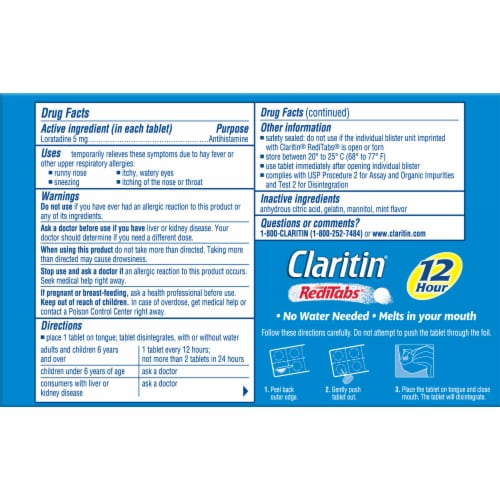 Claritin 12 Hour Non-Drowsy Indoor & Outdoor Allergy Relief Reditabs Perspective: back
