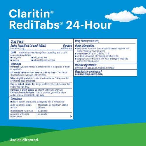 Claritin 24 Hour Non-Drowsy Indoor & Outdoor Allergy Relief Reditabs Perspective: back