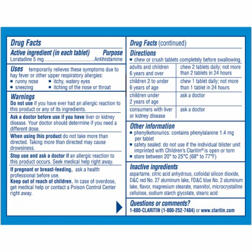 Children's Claritin 24 Hour Non-Drowsy Indoor & Outdoor Allergy Relief Grape Chewable Tablets Perspective: back