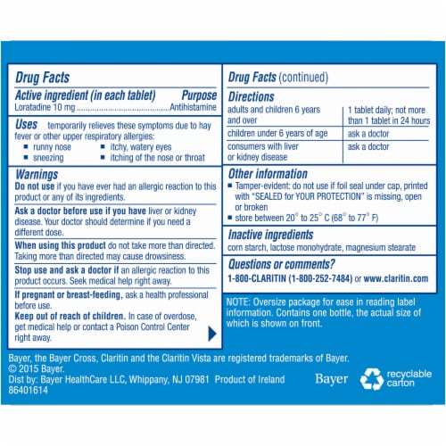 Claritin 24 Hour Non-Drowsy Indoor & Outdoor Allergy Relief Tablets Perspective: back