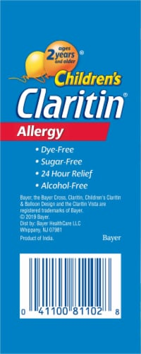 Children's Claritin 24 Hour Non-Drowsy Indoor & Outdoor Allergy Relief Grape Liquid Syrup Perspective: back