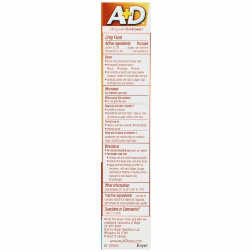A+D Prevent Original Diaper Rash Ointment & Skin Protectant Perspective: back