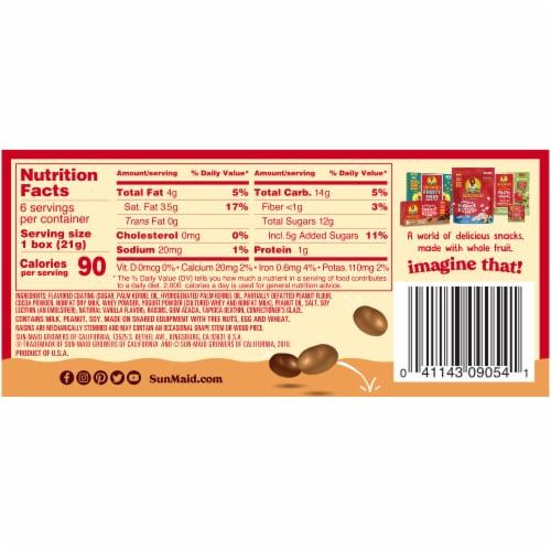 Sun-Maid Chocolate & Peanut Butter Yogurt Covered Raisins Perspective: back