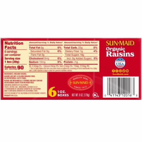 Sun-Maid Organic Raisins Perspective: back
