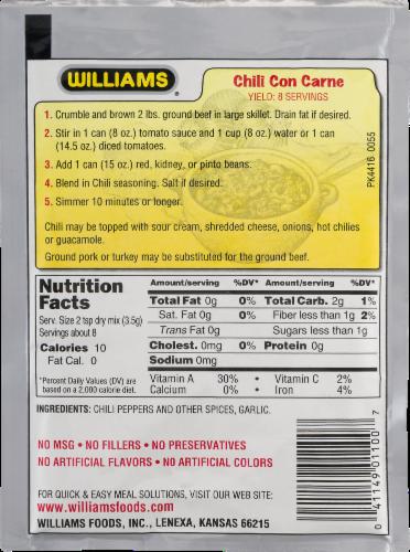 Williams Original Chili Seasoning Perspective: back