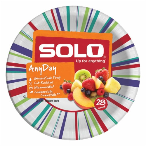 Solo Heavy Duty Paper Bowl 20 oz Assorted Perspective: back