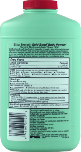 Gold Bond Extra Strength Triple Action Relief Body Powder Perspective: back