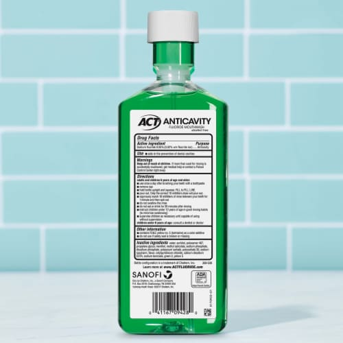 ACT Mint Anticavity Flouride Mouthwash Perspective: back