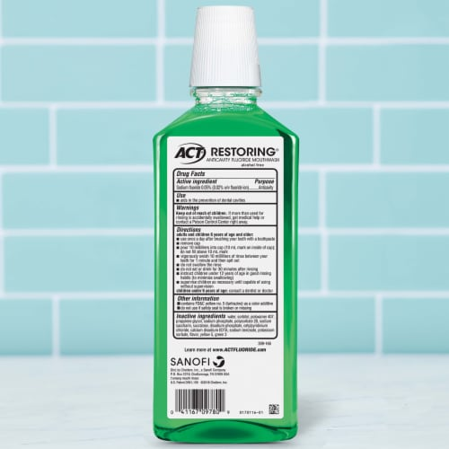 ACT Mint Burst Restoring Anticavity Fluoride Mouthwash Perspective: back