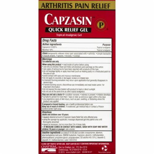 Capzasin™ No Mess Sponge Applicator Quick Relief Analgesic Gel Perspective: back