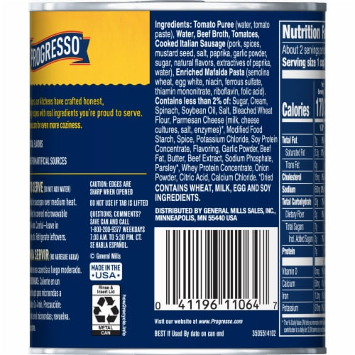 Progresso Rich & Hearty Lasagna-Style Italian Sausage Soup Perspective: back