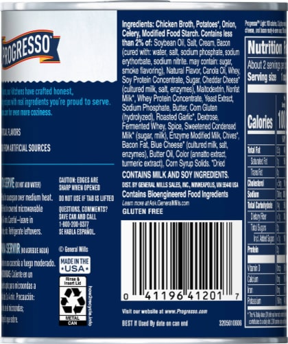 Progresso Light Creamy Potato with Bacon & Cheese Soup Perspective: back