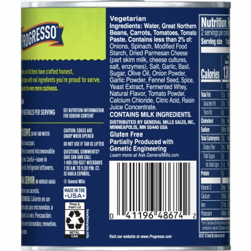Progresso Vegetable Classics Tuscan-Style White Bean Soup Perspective: back