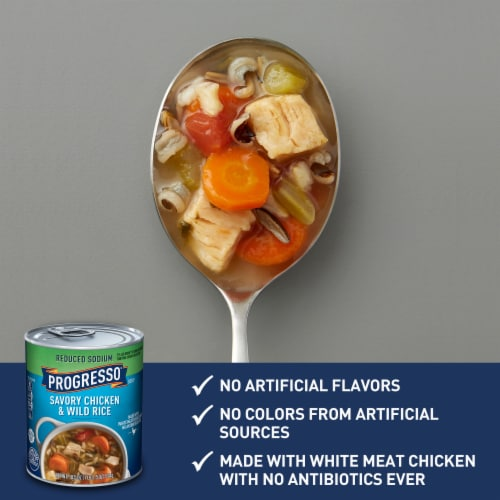 Progresso Reduced Sodium Savory Chicken & Wild Rice Soup Perspective: back