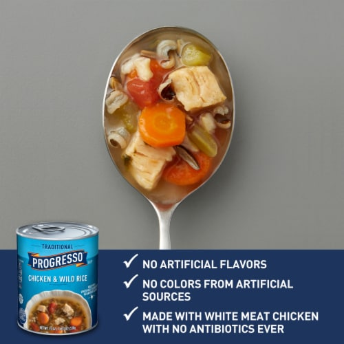 Progresso Traditional Chicken & Wild Rice Soup Perspective: back