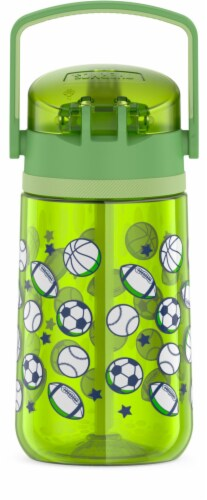 Thermos Plastic Hydration Bottle with Flip Up Straw - Sports League Perspective: back
