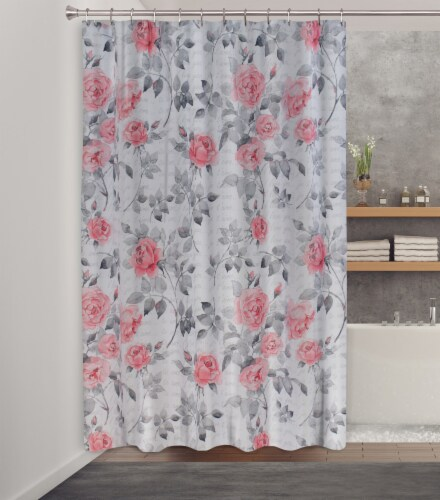 HD Designs Romance Fabric Shower Curtain Perspective: back