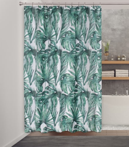 HD Designs Fabric Shower Curtain - Palms Balsa Perspective: back
