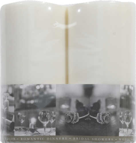 Everyday Living Unscented Pillar Candles - White Perspective: back