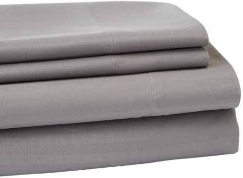 Everyday Living Microfiber Striped Sheet Set - 4 Piece - Frost Gray Perspective: back