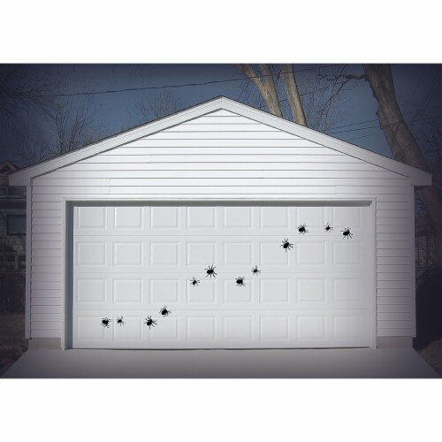 Holiday Home Giant Garage Door Silhouette Spiders Decor - Black Perspective: back