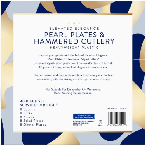 Kroger® Heavyweight Plastic Pearl Plates & Hammered Cutlery Set Perspective: back