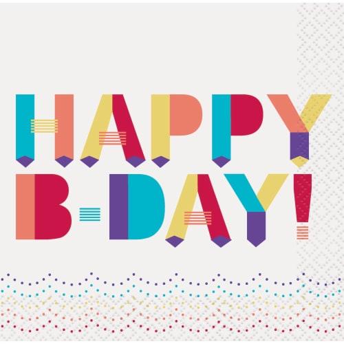 Kroger® Entertainment Essentials Happy Birthday Beverage Napkins - Pink Perspective: back