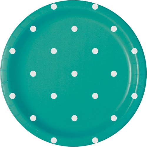 Kroger® Entertainment Essentials Polka Dot Paper Plates - 8 Pack - Green Perspective: back