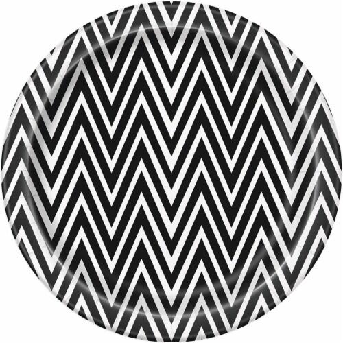 Kroger® Entertainment Essentials Cat Eyes Chevron Paper Plates - 8 Pack - Black/White Perspective: back