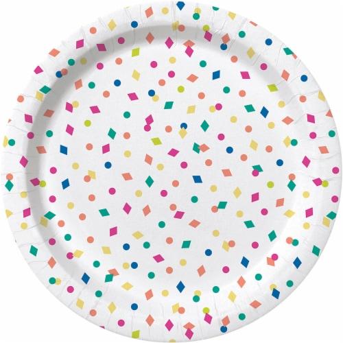 Kroger® Entertainment Essentials Geo Confetti Paper Plates - White Perspective: back