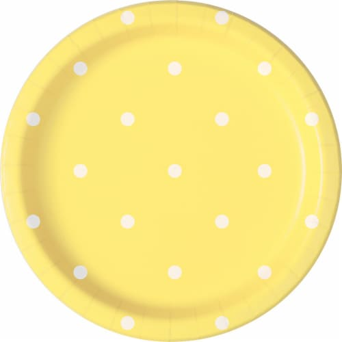 Kroger® Entertainment Essentials Polka Dot Paper Plates - 8 Pack - Yellow Perspective: back