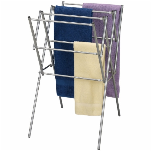 Everyday Living Extendable Metal Clothes Drying Rack - Silver Perspective: back
